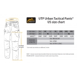 UTL trousers size chart