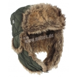 Olive Winter Cap With Faux-Fur