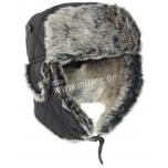 Black Winter Cap With Faux-Fur
